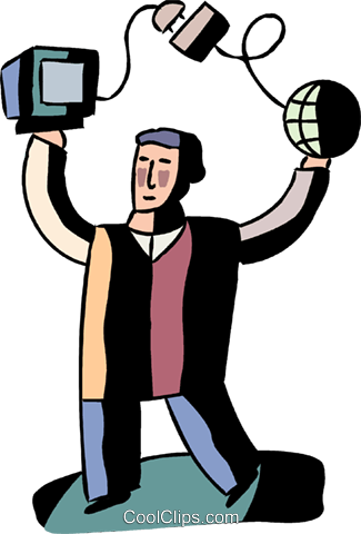Man with computer, satellite and globe Royalty Free Vector Clip Art illustration vc094558