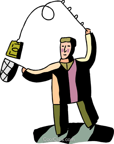 Man catching money with fishing rod Royalty Free Vector Clip Art illustration vc094561