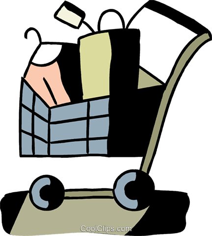 Shopping cart with clothes Royalty Free Vector Clip Art illustration vc094564