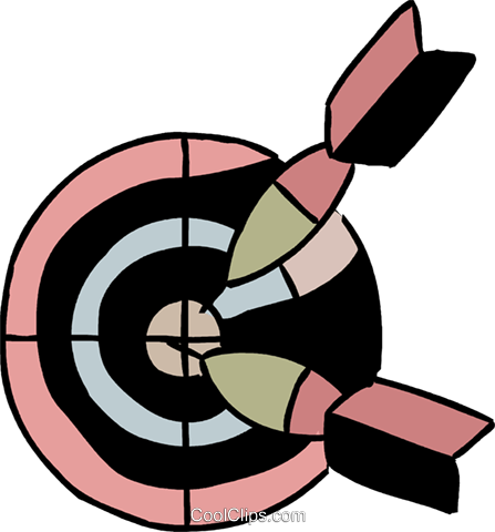 Target with darts Royalty Free Vector Clip Art illustration vc094565