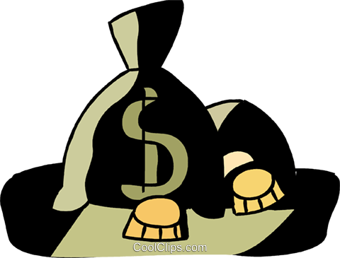 Bags of money and coins Royalty Free Vector Clip Art illustration vc094566