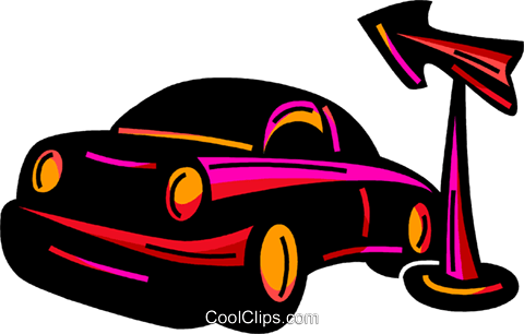 Family car and road sign Royalty Free Vector Clip Art illustration vc094568