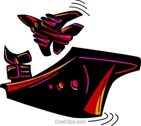 Fighter jet taking off from aircraft carr Royalty Free Vector Clip Art illustration vc094584