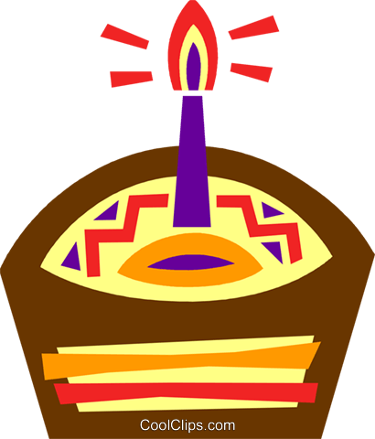 Birthday cupcake with candle Royalty Free Vector Clip Art illustration vc094605