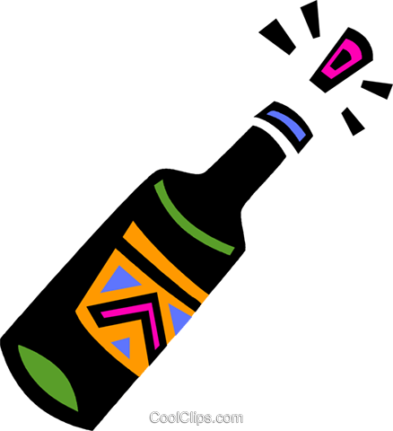 Corked champagne bottle Royalty Free Vector Clip Art illustration vc094635