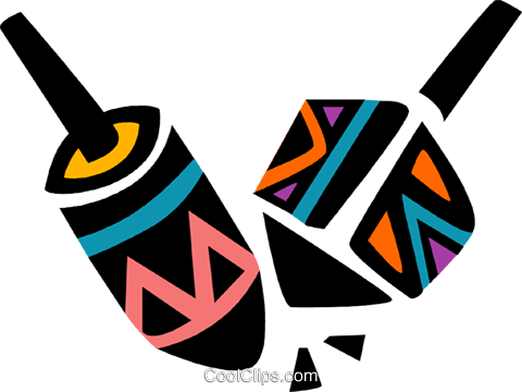 Colorful dreidels Royalty Free Vector Clip Art illustration vc094655