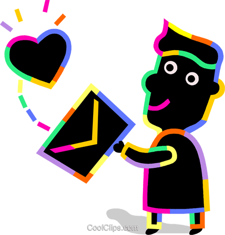 Person with love letter Royalty Free Vector Clip Art illustration vc094723