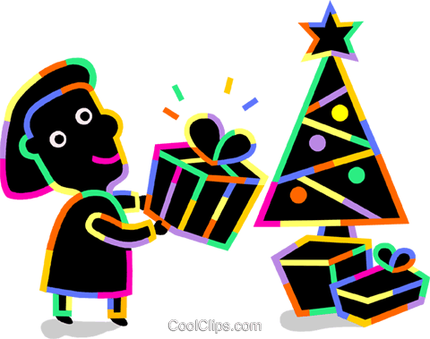 Woman placing Christmas gifts Royalty Free Vector Clip Art illustration vc094724