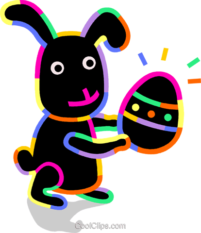 Easter bunny with an Easter egg Royalty Free Vector Clip Art illustration vc094725