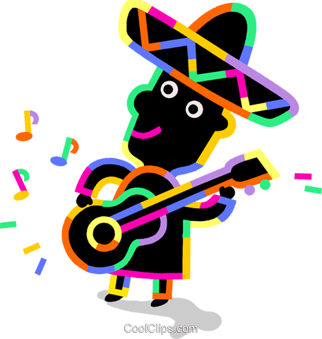 Mariachi guitar player Royalty Free Vector Clip Art illustration vc094726