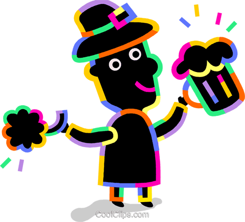 celebrating on St. Patrick's day Royalty Free Vector Clip Art illustration vc094727