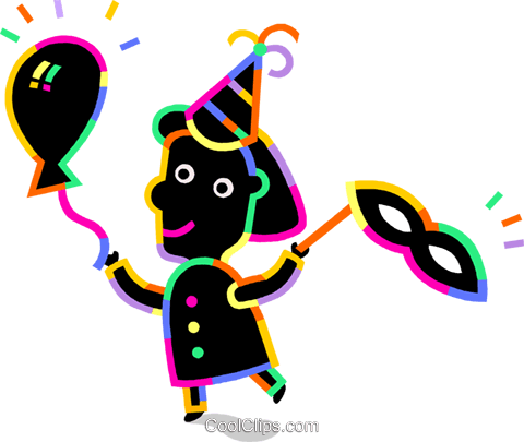 Girl celebrating a birthday Royalty Free Vector Clip Art illustration vc094729