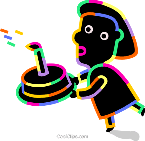 Person carrying a birthday cake Royalty Free Vector Clip Art illustration vc094732