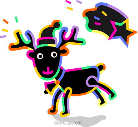 Reindeer wearing hat with shooting star Royalty Free Vector Clip Art illustration vc094733