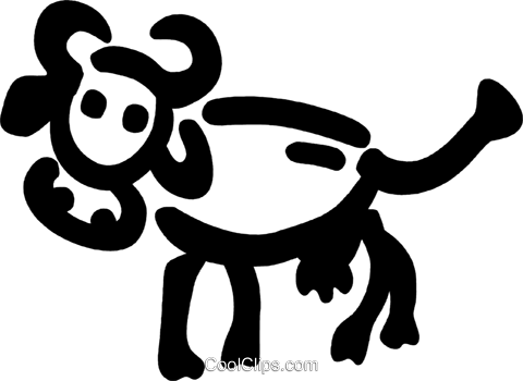 Cow with large horns Royalty Free Vector Clip Art illustration vc094774