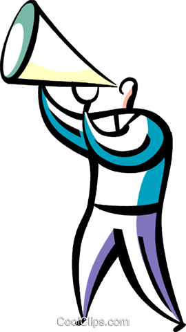 Man making announcements with megaphone Royalty Free Vector Clip Art illustration vc094853