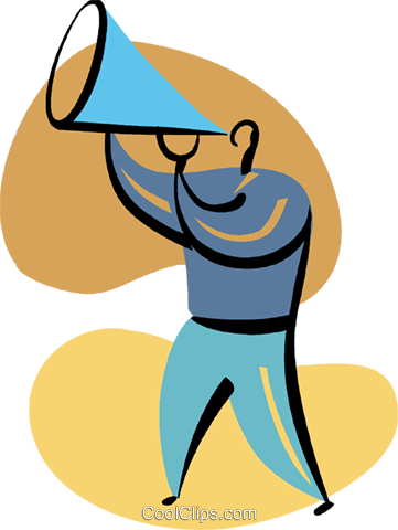 Man making announcements with megaphone Royalty Free Vector Clip Art illustration vc094855