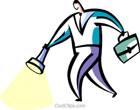 man with briefcase and flashlight Royalty Free Vector Clip Art illustration vc094861