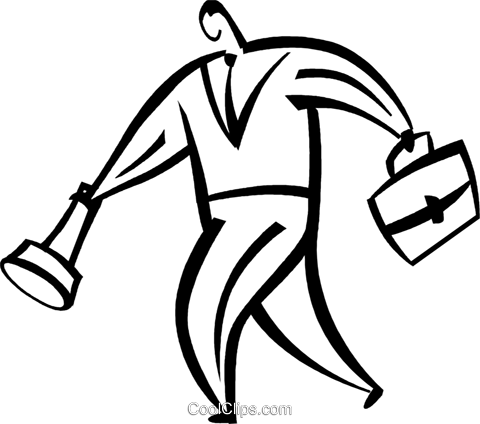 man with briefcase and flashlight Royalty Free Vector Clip Art illustration vc094862