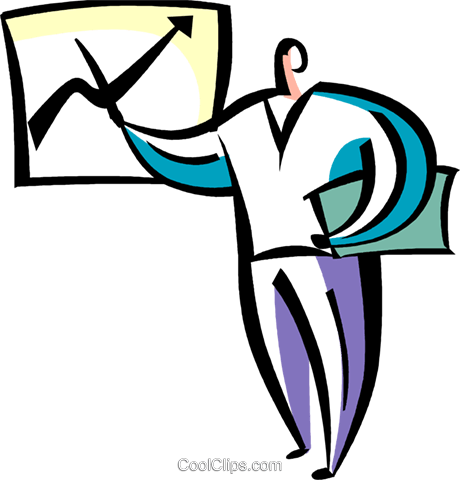 Businessman charting success Royalty Free Vector Clip Art illustration vc094865