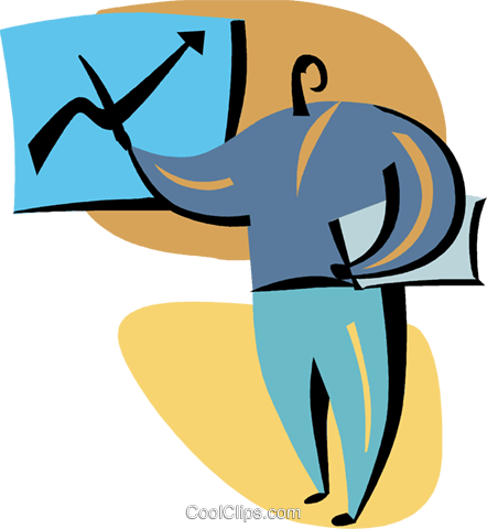 Businessman charting success Royalty Free Vector Clip Art illustration vc094867