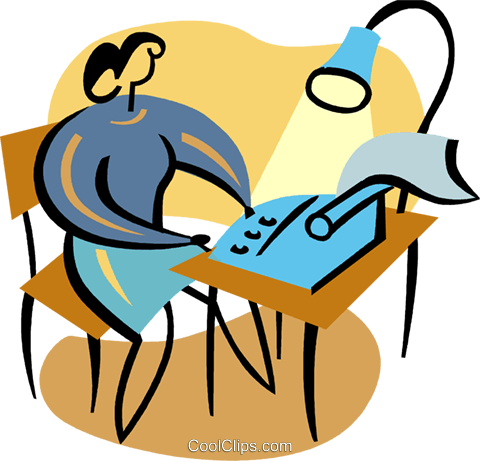 Woman typing at her desk Royalty Free Vector Clip Art illustration vc094871