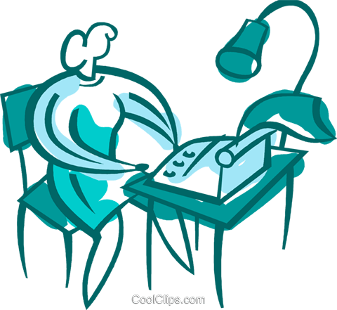 Woman typing at her desk Royalty Free Vector Clip Art illustration vc094872