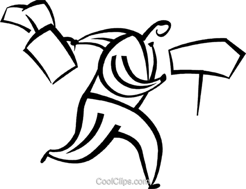 Businessman Running With Full Briefcase Royalty Free Vector Clip Art