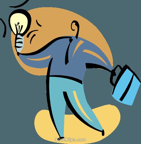 Mann mit Vorstellung Glühlampe und Aktentasche Vektor ...