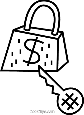 Money lock and house key Royalty Free Vector Clip Art illustration vc095164
