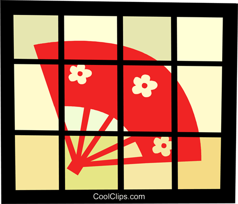 Asian hand fan Royalty Free Vector Clip Art illustration vc095912