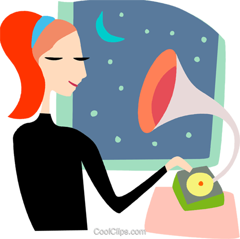 Phonograph Gramophone Record Player Royalty Free Vector Clip Art illustration vc096796