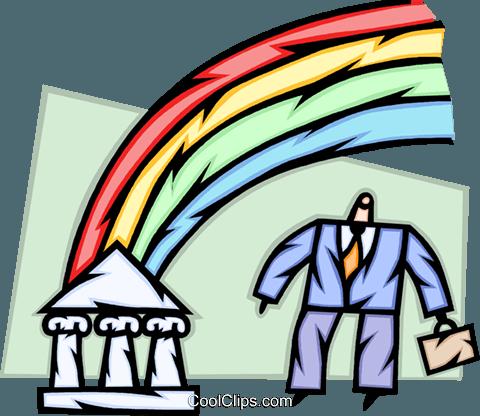 追逐彩虹 免版税矢量剪贴画插图