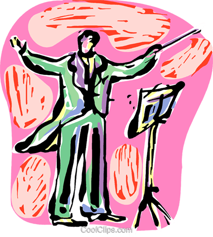 Orchestra Conductors Royalty Free Vector Clip Art illustration vc097888