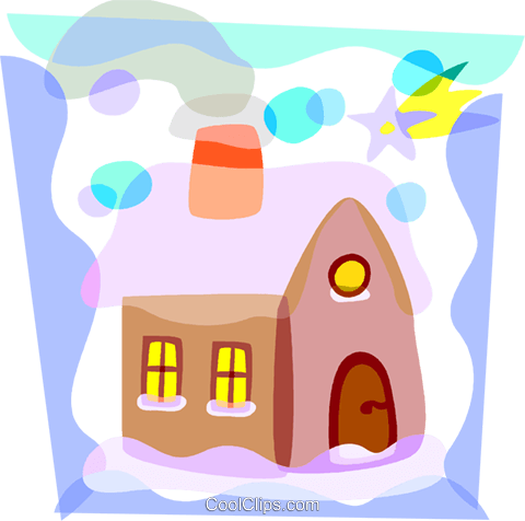 House covered in snow Royalty Free Vector Clip Art illustration vc098114