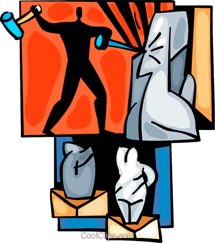 Sculpture with hammer and chisel Royalty Free Vector Clip ...