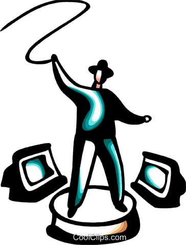 man with bull whip and computer monitors Royalty Free Vector Clip Art illustration vc098421
