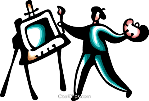 Painter with palette painting Royalty Free Vector Clip Art illustration vc098424
