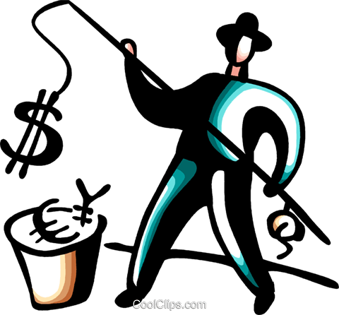 Businessman fishing for currency Royalty Free Vector Clip Art illustration vc098434