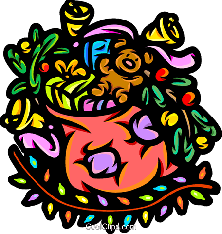 Sack of toys in a colorful design Royalty Free Vector Clip Art illustration vc098675
