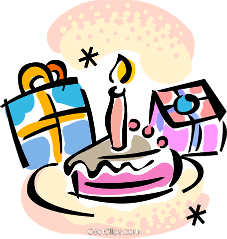 Birthday Cake And Presents Royalty Free Vector Clip Art Illustration