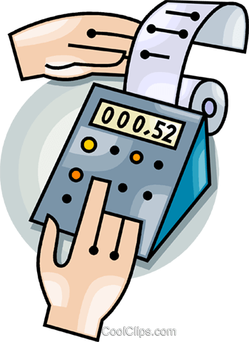 adding machine Royalty Free Vector Clip Art illustration vc099447