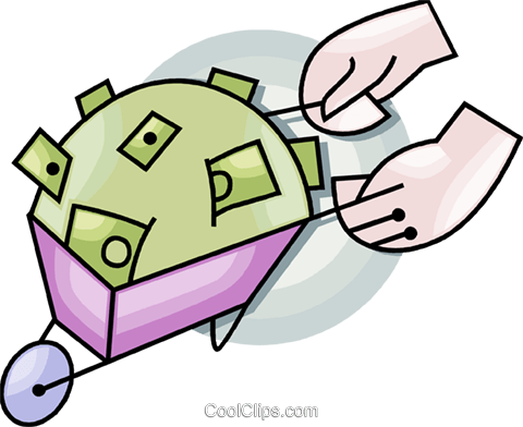 wheelbarrow full of money Royalty Free Vector Clip Art illustration vc099472