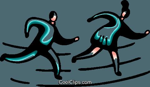跑步和步行 免版税矢量剪贴画插图