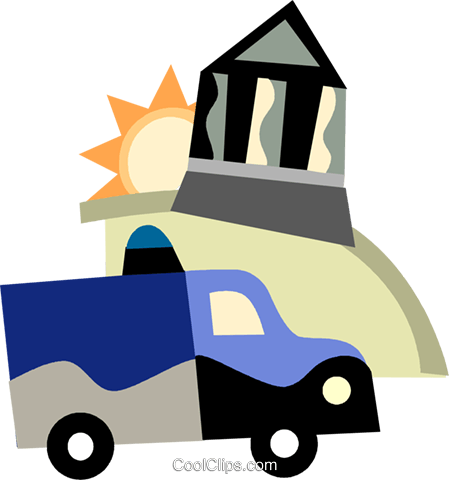 an ambulance driving past a bank Royalty Free Vector Clip Art illustration vc099752