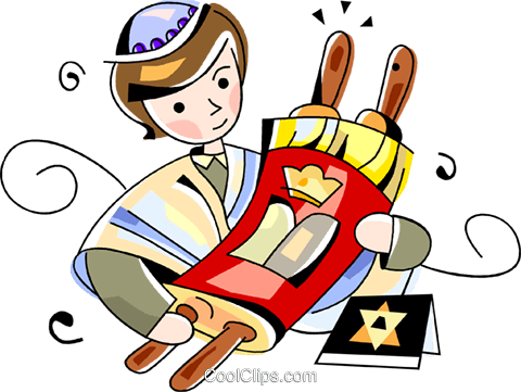 Jewish boy with scrolls Royalty Free Vector Clip Art illustration vc099799