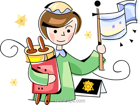 Jewish girl with scrolls Royalty Free Vector Clip Art illustration vc099800