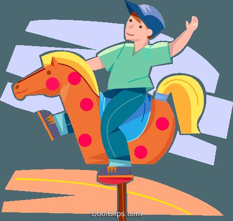 junge reiten ein spielzeug pferd im park vektor clipart bild vc099852. Black Bedroom Furniture Sets. Home Design Ideas