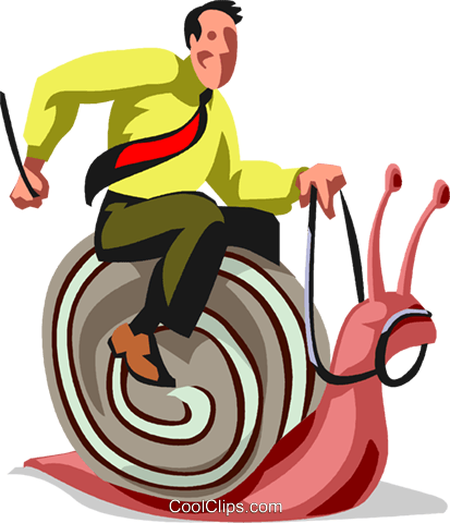 Businessman riding a snail Royalty Free Vector Clip Art illustration vc099898