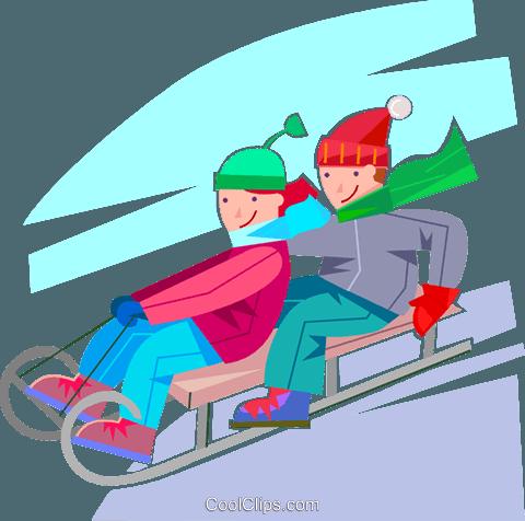 Kinder rodeln Vektor Clipart Bild -vc100609-CoolCLIPS.com
